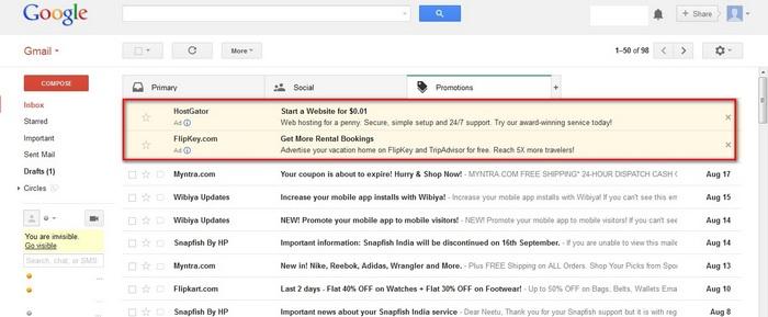 Google Adwords Gmail Ads